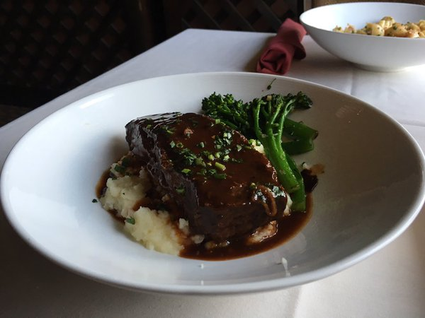 Succulent Short Rib with Brocollini and Mashed Potatoes.